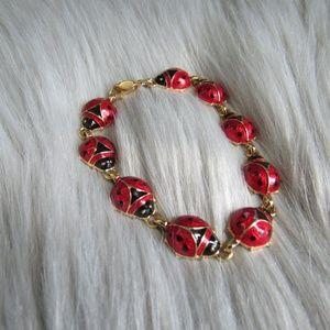 Vintage Avon Ladybug Gold Tone Bracelet